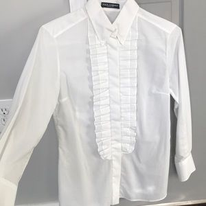 Dolce & Gabbana (D&G) White Pleated Shirt Blouse